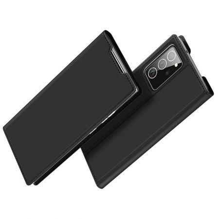 Тонкий Флип Чехол Книжка с Скрытым Магнитом и Отделением для Карты для Samsung Galaxy Note 20 Ultra Черный