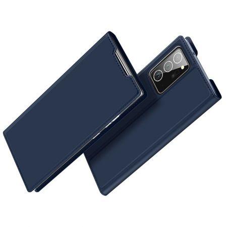 Тонкий Флип Чехол Книжка с Скрытым Магнитом и Отделением для Карты для Samsung Galaxy Note 20 Ultra Синий