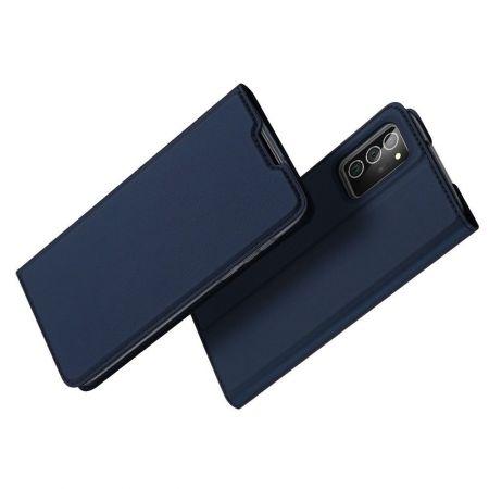 Тонкий Флип Чехол Книжка с Скрытым Магнитом и Отделением для Карты для Samsung Galaxy Note 20 Синий