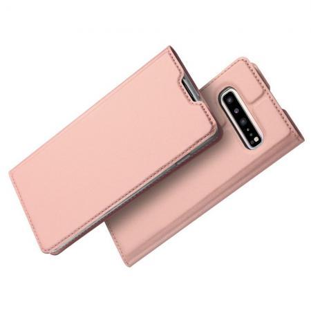 Тонкий Флип Чехол Книжка с Скрытым Магнитом и Отделением для Карты для Samsung Galaxy S10 5G Розовое Золото