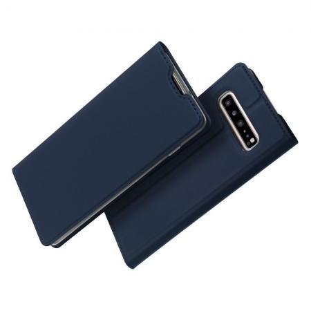 Тонкий Флип Чехол Книжка с Скрытым Магнитом и Отделением для Карты для Samsung Galaxy S10 5G Синий