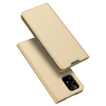 Тонкий Флип Чехол Книжка с Скрытым Магнитом и Отделением для Карты для Samsung Galaxy S10 Lite Золотой