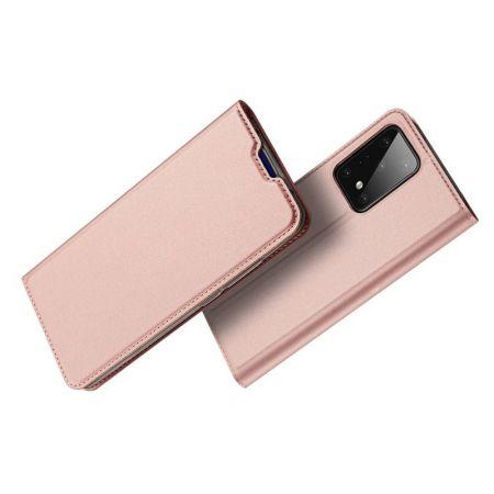 Тонкий Флип Чехол Книжка с Скрытым Магнитом и Отделением для Карты для Samsung Galaxy S20 Plus Розовый