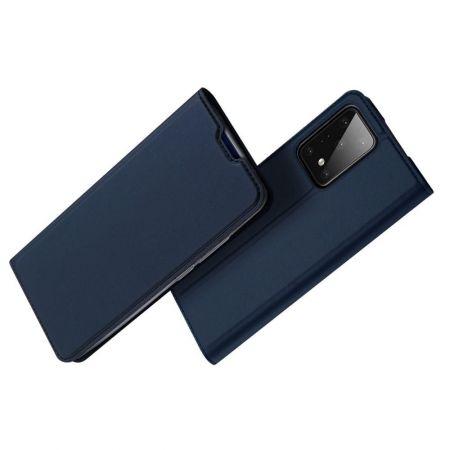 Тонкий Флип Чехол Книжка с Скрытым Магнитом и Отделением для Карты для Samsung Galaxy S20 Plus Синий