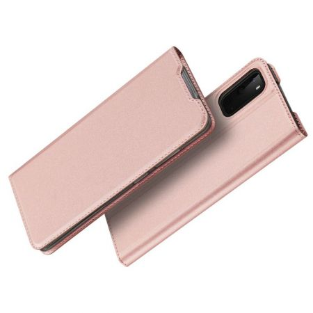 Тонкий Флип Чехол Книжка с Скрытым Магнитом и Отделением для Карты для Samsung Galaxy S20e Розовый