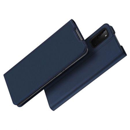 Тонкий Флип Чехол Книжка с Скрытым Магнитом и Отделением для Карты для Samsung Galaxy S20e Синий