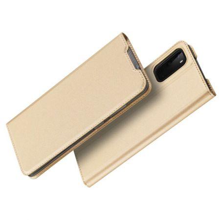 Тонкий Флип Чехол Книжка с Скрытым Магнитом и Отделением для Карты для Samsung Galaxy S20e Золотой