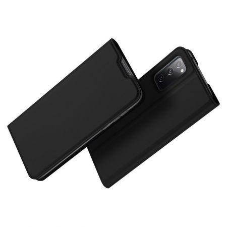 Тонкий Флип Чехол Книжка с Скрытым Магнитом и Отделением для Карты для Samsung Galaxy S20 FE Черный