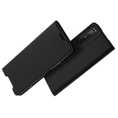 Тонкий Флип Чехол Книжка с Скрытым Магнитом и Отделением для Карты для Sony Xperia 1 II Черный