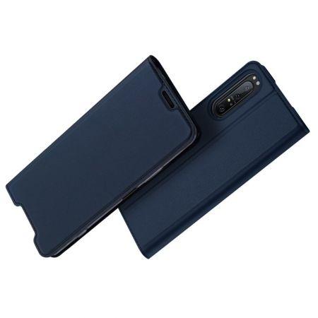 Тонкий Флип Чехол Книжка с Скрытым Магнитом и Отделением для Карты для Sony Xperia 1 II Синий