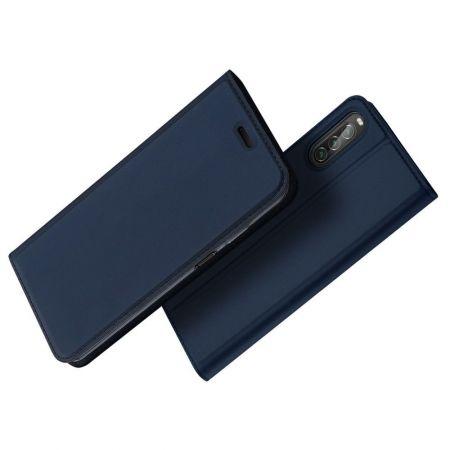 Тонкий Флип Чехол Книжка с Скрытым Магнитом и Отделением для Карты для Sony Xperia 10 II Синий
