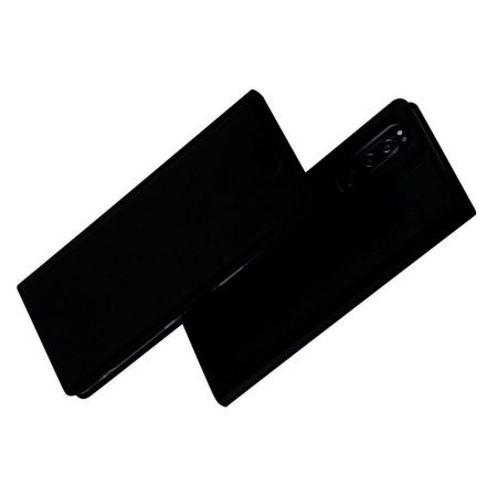 Тонкий Флип Чехол Книжка с Скрытым Магнитом и Отделением для Карты для Sony Xperia 5 Черный