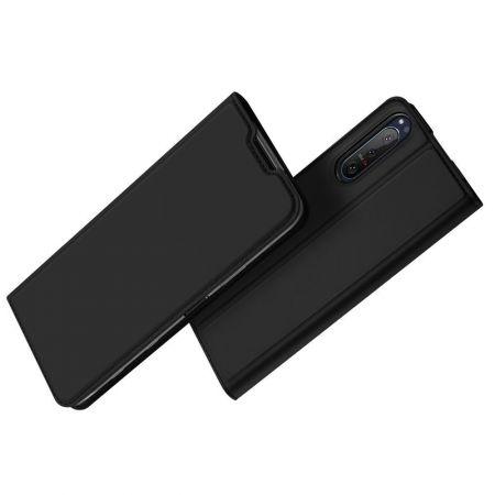 Тонкий Флип Чехол Книжка с Скрытым Магнитом и Отделением для Карты для Sony Xperia 5 II Черный