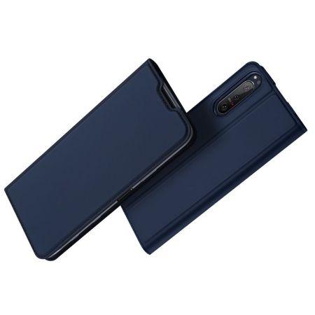 Тонкий Флип Чехол Книжка с Скрытым Магнитом и Отделением для Карты для Sony Xperia 5 II Синий