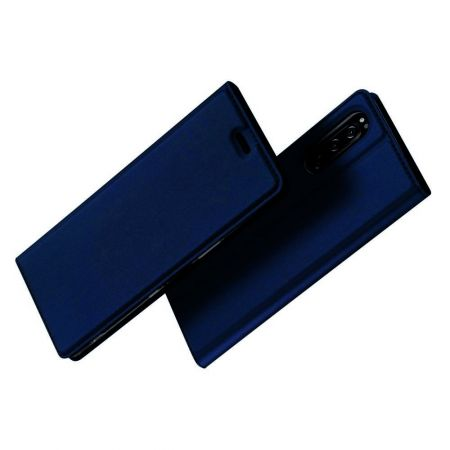 Тонкий Флип Чехол Книжка с Скрытым Магнитом и Отделением для Карты для Sony Xperia 5 Синий