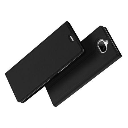 Тонкий Флип Чехол Книжка с Скрытым Магнитом и Отделением для Карты для Sony Xperia 8 Черный
