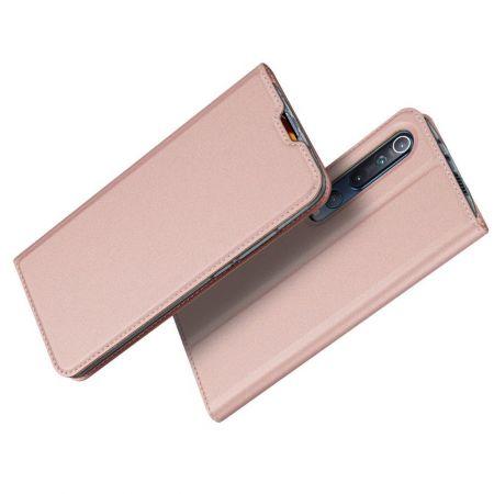 Тонкий Флип Чехол Книжка с Скрытым Магнитом и Отделением для Карты для Xiaomi Mi 10 / Mi 10 Pro / 10 Pro Розовый