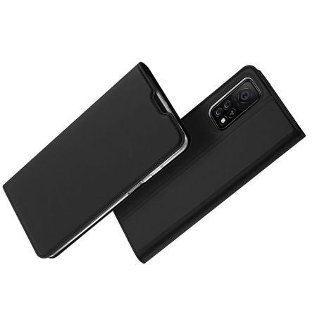Тонкий Флип Чехол Книжка с Скрытым Магнитом и Отделением для Карты для Xiaomi Mi 10T Черный