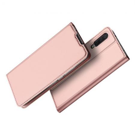 Тонкий Флип Чехол Книжка с Скрытым Магнитом и Отделением для Карты для Xiaomi Mi A3 Розовый