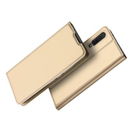 Тонкий Флип Чехол Книжка с Скрытым Магнитом и Отделением для Карты для Xiaomi Mi A3 Золотой