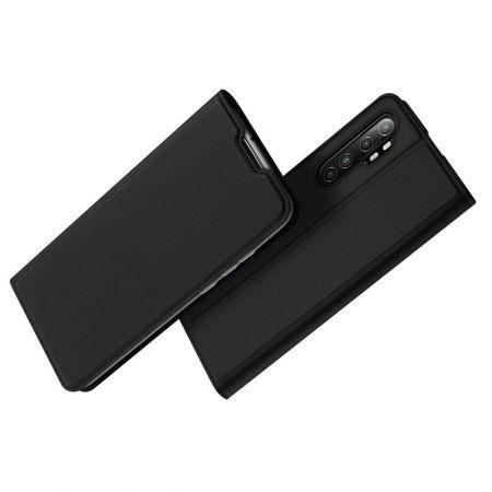 Тонкий Флип Чехол Книжка с Скрытым Магнитом и Отделением для Карты для Xiaomi Mi Note 10 Lite Черный