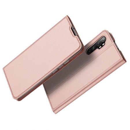 Тонкий Флип Чехол Книжка с Скрытым Магнитом и Отделением для Карты для Xiaomi Mi Note 10 Lite Розовый
