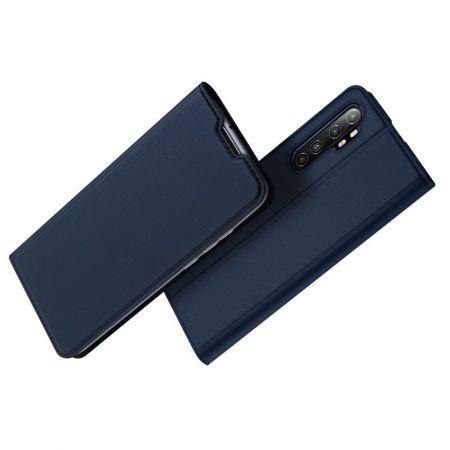 Тонкий Флип Чехол Книжка с Скрытым Магнитом и Отделением для Карты для Xiaomi Mi Note 10 Lite Синий