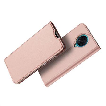 Тонкий Флип Чехол Книжка с Скрытым Магнитом и Отделением для Карты для Xiaomi Poco F2 Pro Розовый