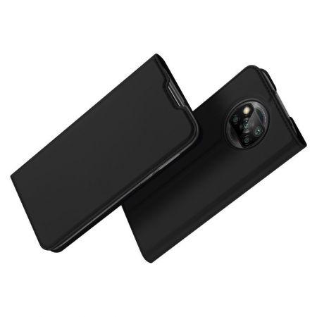 Тонкий Флип Чехол Книжка с Скрытым Магнитом и Отделением для Карты для Xiaomi Poco X3 NFC / X3 NFC Черный