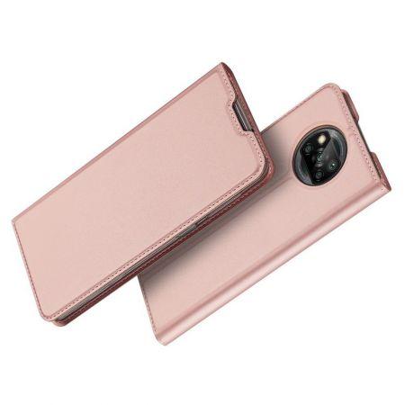 Тонкий Флип Чехол Книжка с Скрытым Магнитом и Отделением для Карты для Xiaomi Poco X3 NFC / X3 NFC Розовый