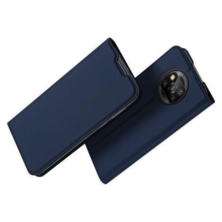 Тонкий Флип Чехол Книжка с Скрытым Магнитом и Отделением для Карты для Xiaomi Poco X3 NFC / X3 NFC Синий