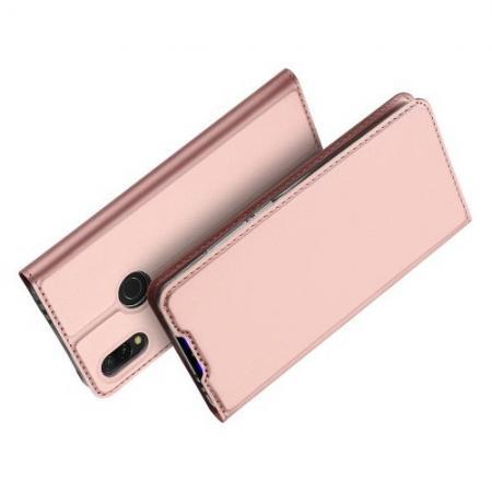 Тонкий Флип Чехол Книжка с Скрытым Магнитом и Отделением для Карты для Xiaomi Redmi 7 Розовый