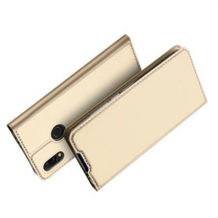 Тонкий Флип Чехол Книжка с Скрытым Магнитом и Отделением для Карты для Xiaomi Redmi 7 Золотой