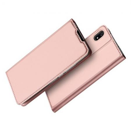 Тонкий Флип Чехол Книжка с Скрытым Магнитом и Отделением для Карты для Xiaomi Redmi 7A Розовое золото