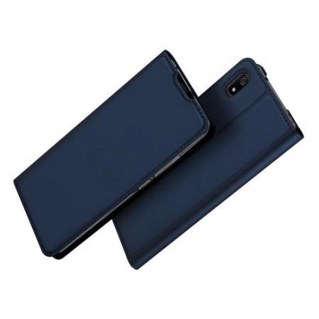 Тонкий Флип Чехол Книжка с Скрытым Магнитом и Отделением для Карты для Xiaomi Redmi 7A Синий