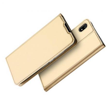 Тонкий Флип Чехол Книжка с Скрытым Магнитом и Отделением для Карты для Xiaomi Redmi 7A Золотой