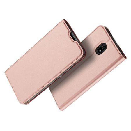 Тонкий Флип Чехол Книжка с Скрытым Магнитом и Отделением для Карты для Xiaomi Redmi 8A Розовый