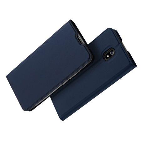 Тонкий Флип Чехол Книжка с Скрытым Магнитом и Отделением для Карты для Xiaomi Redmi 8A Синий