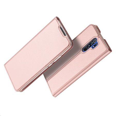Тонкий Флип Чехол Книжка с Скрытым Магнитом и Отделением для Карты для Xiaomi Redmi 9 Розовый