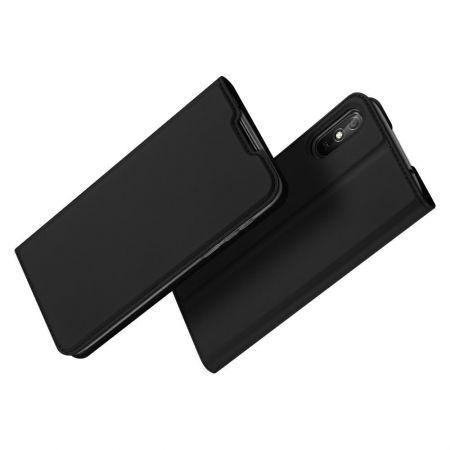 Тонкий Флип Чехол Книжка с Скрытым Магнитом и Отделением для Карты для Xiaomi Redmi 9A Черный