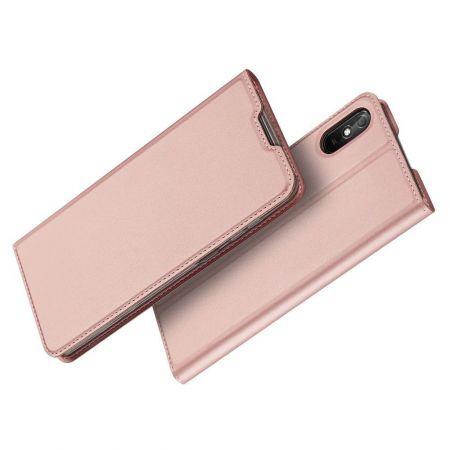 Тонкий Флип Чехол Книжка с Скрытым Магнитом и Отделением для Карты для Xiaomi Redmi 9A Розовый