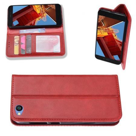Тонкий Флип Чехол Книжка с Скрытым Магнитом и Отделением для Карты для Xiaomi Redmi Go Красный