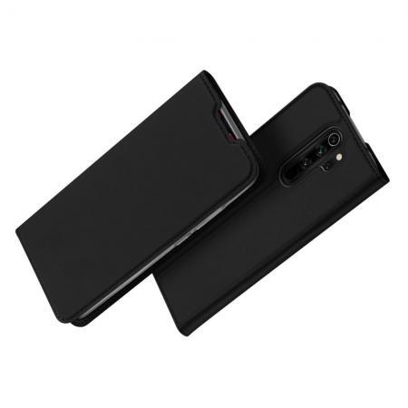 Тонкий Флип Чехол Книжка с Скрытым Магнитом и Отделением для Карты для Xiaomi Redmi Note 8 Pro Черный