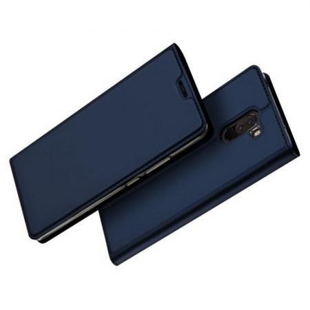 Тонкий Флип Чехол Книжка с Скрытым Магнитом и Отделением для Карты для Xiaomi Redmi Note 8 Pro Синий