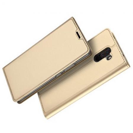 Тонкий Флип Чехол Книжка с Скрытым Магнитом и Отделением для Карты для Xiaomi Redmi Note 8 Pro Золотой