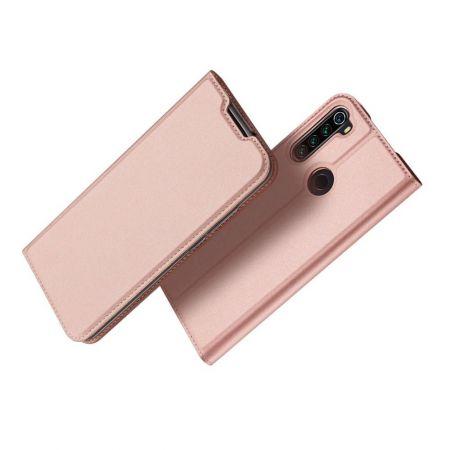 Тонкий Флип Чехол Книжка с Скрытым Магнитом и Отделением для Карты для Xiaomi Redmi Note 8T Розовый