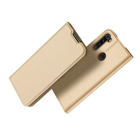 Тонкий Флип Чехол Книжка с Скрытым Магнитом и Отделением для Карты для Xiaomi Redmi Note 8T Золотой