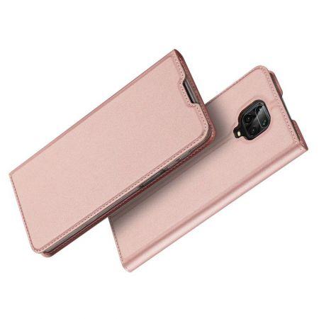 Тонкий Флип Чехол Книжка с Скрытым Магнитом и Отделением для Карты для Xiaomi Redmi Note 9 Pro Розовый