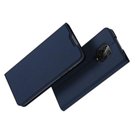 Тонкий Флип Чехол Книжка с Скрытым Магнитом и Отделением для Карты для Xiaomi Redmi Note 9 Pro Синий