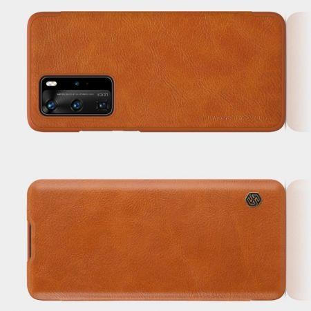 Тонкий Флип NILLKIN Qin Чехол Книжка для Huawei P40 Pro Коричневый